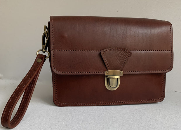 """Sokratis"" - small crossbody bag handcrafted from natural light brown leather with lock WT/55KWT/55LK"