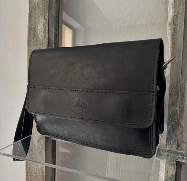 """Sokratis"" - small crossbody bag handcrafted from natural black leather WT/55M"