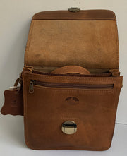 """Ikaros"" - small crossbody bag handcrafted from natural light brown leather with oval lock WT/52T"
