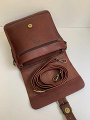 """Ikaros"" - midsize crossbody bag handcrafted from natural brown leather with buckle WT/52EGK"