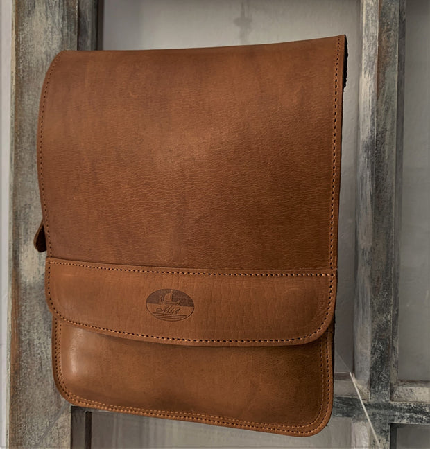 """Ermis"" - midsize men's crossbody bag handcrafted from natural light brown leather WT/66T"