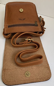 """Klearchos"" - small crossbody bag handcrafted from natural light brown leather WT/63LK"