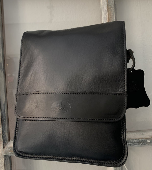 """Aris"" - bigsize men's crossbody bag handcrafted from soft black leather  WT/72"