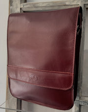 """Aris"" - bigsize men's crossbody bag handcrafted from soft bordo leather WT/72MSFF"