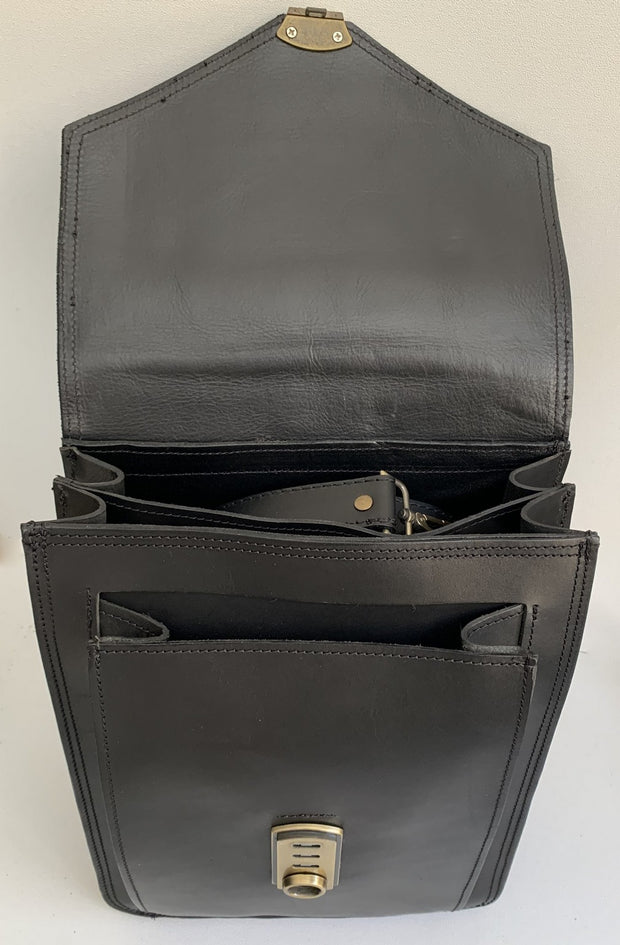 """Sofoklis"" - men's office bag from natural black leather WT/284M"
