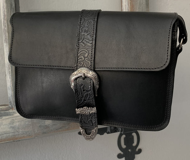 """Hellen"" - midsize crossbody bag handcrafted from natural black leather with flower details WT/319M"