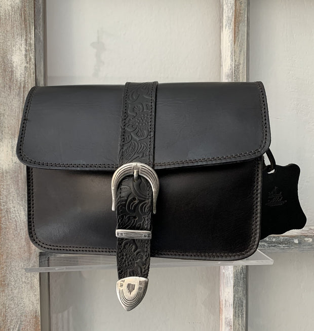 """Kalypso"" - small crossbody bag handcrafted from natural black leather with flower details WT/55F2FM"