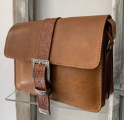 "Kalypso"" - small crossbody bag handcrafted from natural light brown leather with flower details WT/55F2FT"