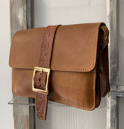 "Kalypso"" - small crossbody bag handcrafted from natural light brown leather with flower details  WT/325F2FΤ"