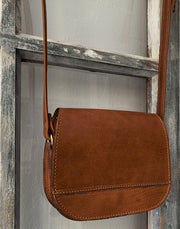"""Fedra"" - small crossbody bag handcrafted from natural light brown leather with flower details WT/60T"