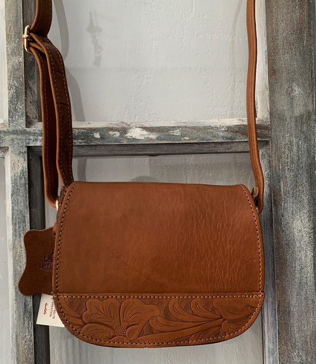 """Fedra"" - small crossbody bag handcrafted from natural light brown leather with meandros design WT/60T"