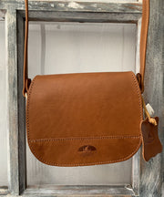"""Fedra"" - small crossbody bag handcrafted from natural light brown leather with snake details WT/60T"