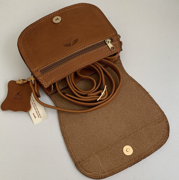 """Fedra"" - small crossbody bag handcrafted from natural light brown leather WT/60T"