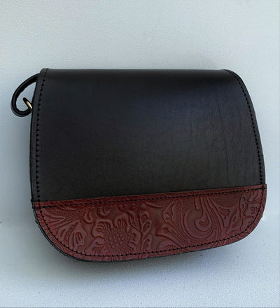 """Fedra"" - small crossbody bag handcrafted from natural black leather with red flower details WT/60M"