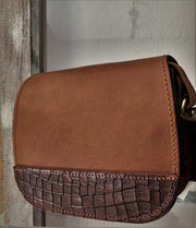 """Fedra"" - small crossbody bag handcrafted from natural brown leather with flower details WT/60K"