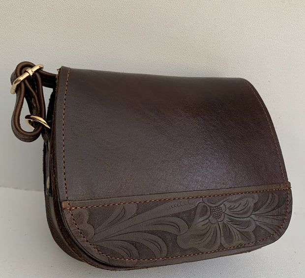 """Fedra"" - small crossbody bag handcrafted from natural dark brown leather with snake design WT/60SK"