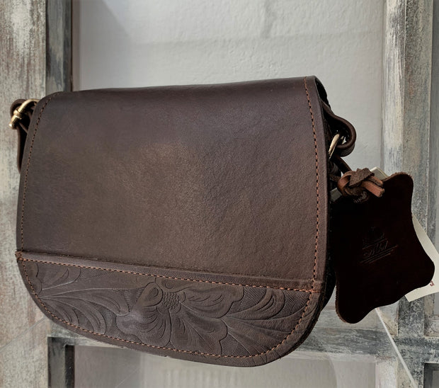"""Evridiki"" - small crossbody bag handcrafted from natural dark brown leather with flower designWT/54SK"
