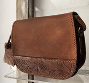 """Fedra"" - small crossbody bag handcrafted from natural brown leather WT/60K"