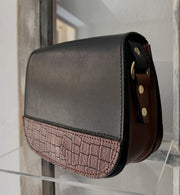 """Fedra"" - small crossbody bag handcrafted from natural black leather with brown croco details WT/60M"