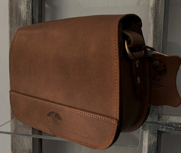 """Evridiki"" - small crossbody bag handcrafted from natural light brown leather with snake design WT/54T"
