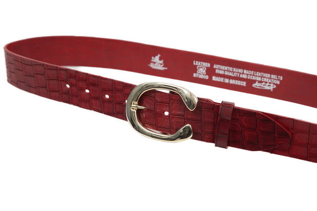 Women's 4cm wide belt handcrafted from red natural leather with croco design WB101294/40GKR