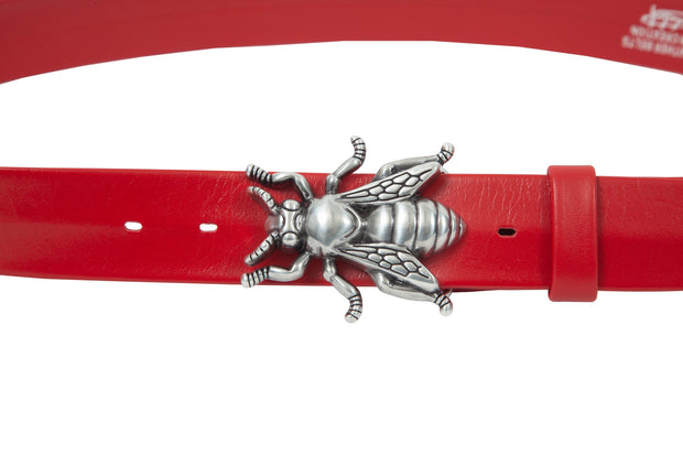 Women's 4cm wide belt handcrafted from soft red leather ideal for dresses WB101029/40
