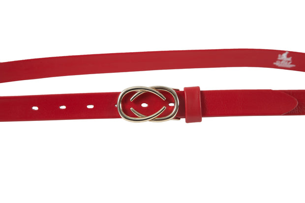 Women's thin belt handcrafted from red soft leather ideal for dresses WB101293/25G