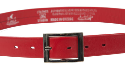 Women's thin belt handcrafted from red soft leather ideal for dresses WB5248/30G