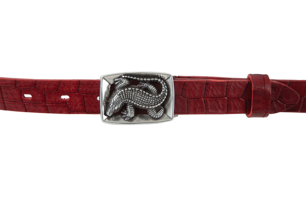 Women's thin belt handcrafted from red natural leather with croco design WB10976/25KR