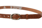Women's thin belt handcrafted from light brown natural leather with flower design WB101294/25L