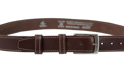 Belt for jeans in natural brown leather with white stitching design WB1200/35M