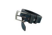 Belt for jeans in natural blue leather with white stitching design WB1200/35M