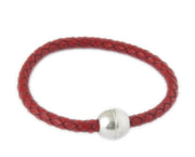 Knitted leather bracelet