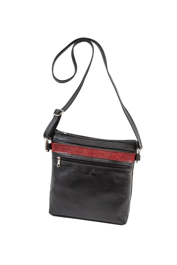 """Ariadni"" - Midsize crossbody bag handcrafted from soft black leather with flower design WT/77M"