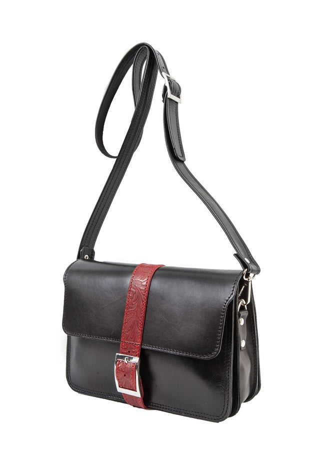 """Hellen"" - midsize crossbody bag handcrafted from natural black leather with red flower details WT/319MKK"