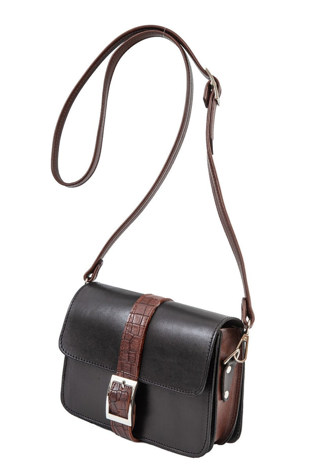 "Kalypso"" - small crossbody bag handcrafted from natural black leather with brown croco details WT/325F2FMK"