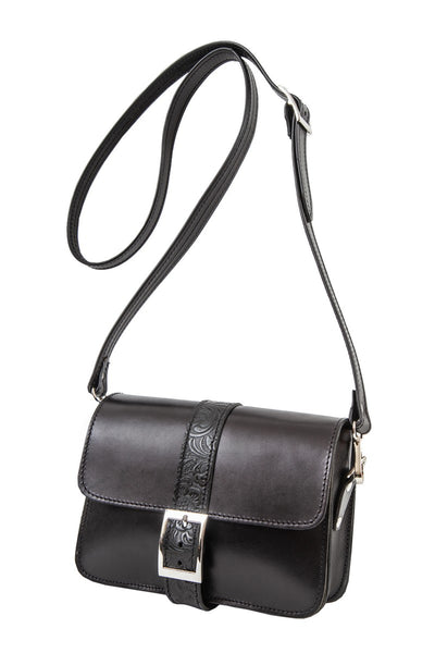 "Kalypso"" - small crossbody bag handcrafted from natural black leather with flower details WT/325F2F"
