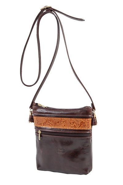 """Afroditi"" - small crossbody bag handcrafted from soft brown leather with light brown flower details WT/389K"