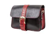 "Kalypso"" - small crossbody bag handcrafted from natural black leather with red flower details WT/325F2FMKK"