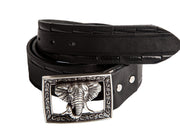 Belt for jeans handcreafted from natural leather with relief design WS236/40