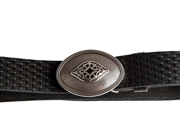 Belt for jeans handcreafted from natural leather with relief design WS240/40