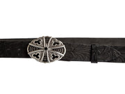 Belt for jeans handcreafted from natural leather with flower design WS242/40
