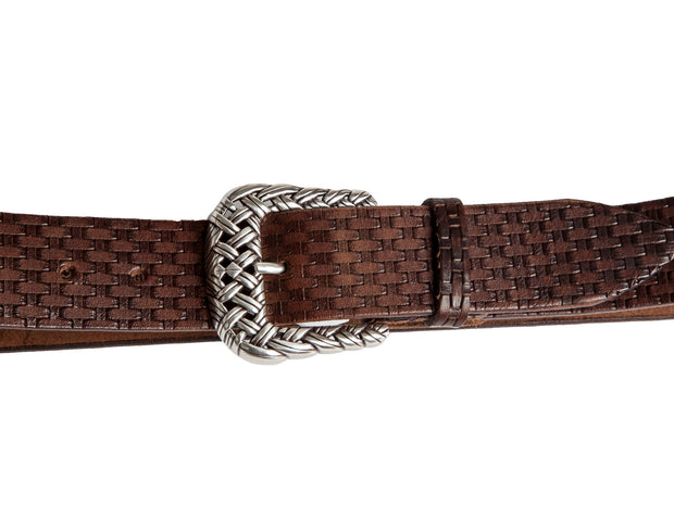 Belt for jeans handcreafted from natural leather with relief design WS248/40