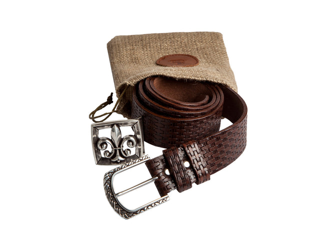 WS251/40 Handmade casual leather belt in brown color