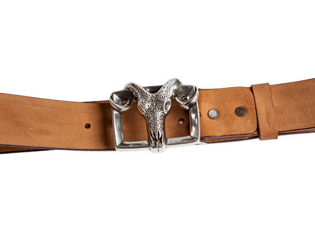 WS258/40 Handmade leather belt in light brown color with a wonderful 4cm buckle.
