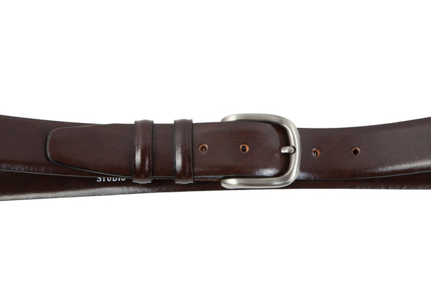 Belt for suits in brown leather WA9/35