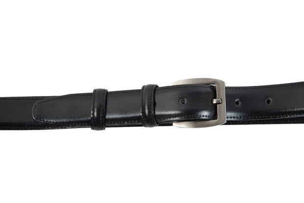 Belt for suits in black leather with stitching design WA14/30