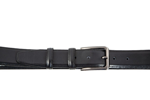 Belt for suits in black leather with stitching design WA13/35