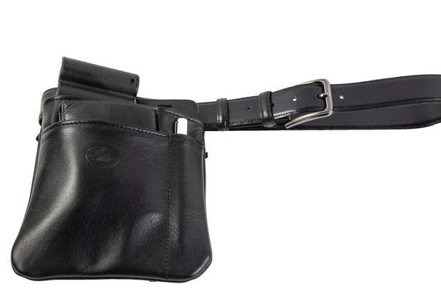 Waiter bag in soft black leather WB/5
