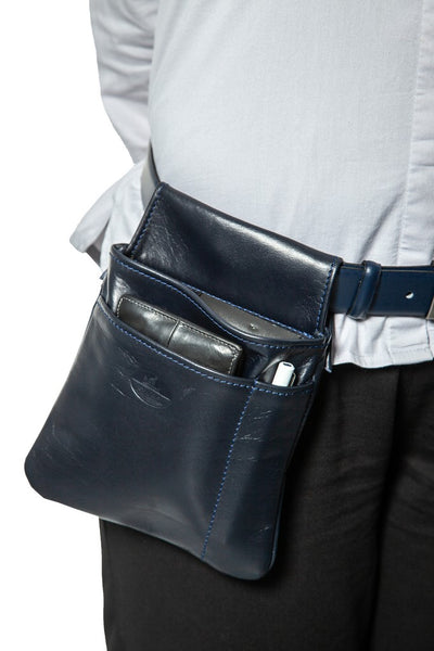 Waiter bag in soft blue leather WB/6
